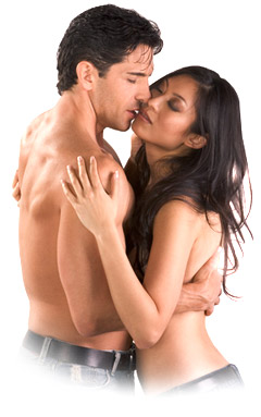 гола двойка целуваща се и изпитваща наслада