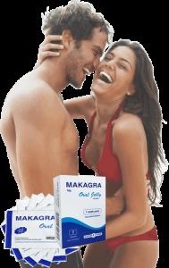 Щастлива двойка прегръщаща се и смееща се поради удовлетворението получено от продукт за ерекция Макагра.