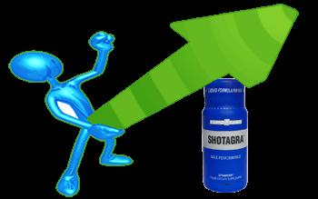 Мъжка фигура в син цвят хванала зелена на цвят еректирала стрелка, символизираща голямата ерекция, получена след прием на продуктите които се продават в нашия секс магазин.